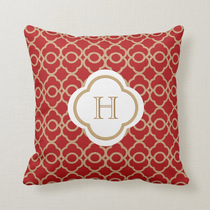 Throw Pillows Red And Gold : Red and Gold Moroccan Monogram Throw Pillow Zazzle