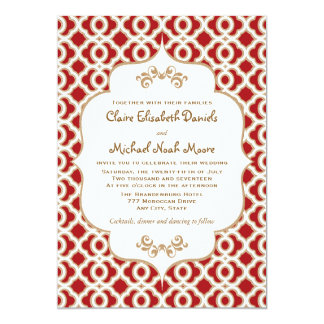 Red and Gold Moroccan Wedding Invitations