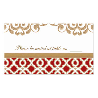 Red and Gold Moroccan Wedding Table Place Pack Of Standard Business Cards