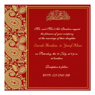Red and gold Muslim wedding Announcements