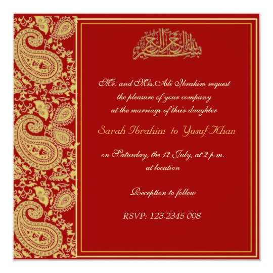 Muslim Wedding Invitation Wording: Red And Gold Muslim Wedding Invitation