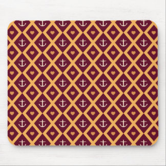 Red and Gold Nautical Pattern Anchors and Hearts Mouse Pad