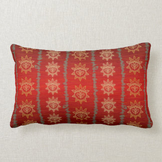 red and gold oblong pillow