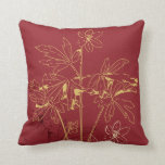 Red and Gold Organic Flower Pillow