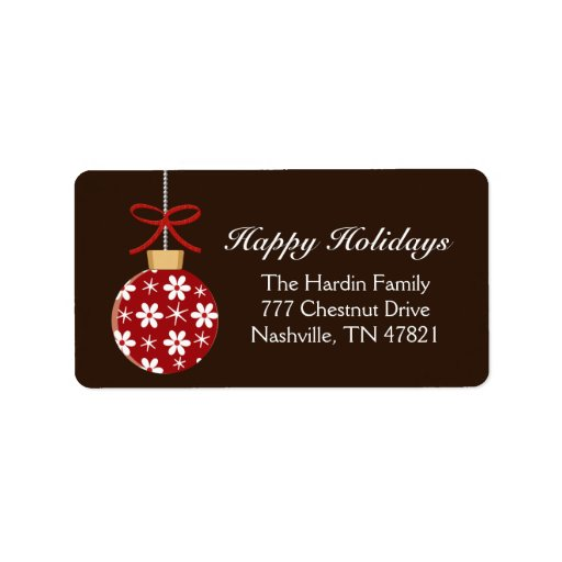 Red and Gold Ornament Holiday Address Labels