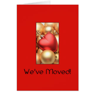 Red and gold ornaments address announcement greeting card