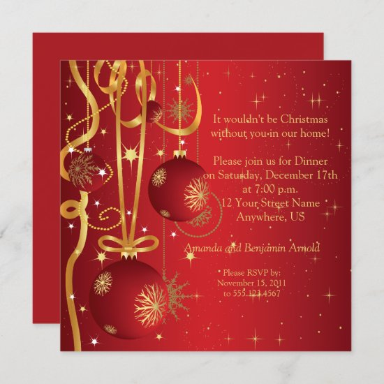 Red and Gold Ornaments Holiday Invitation