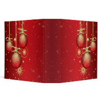 red and gold ornaments notebook binder