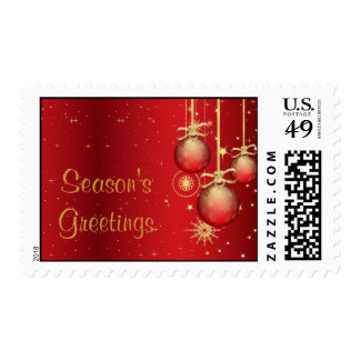 red and gold ornaments Season'sGreetings Postage