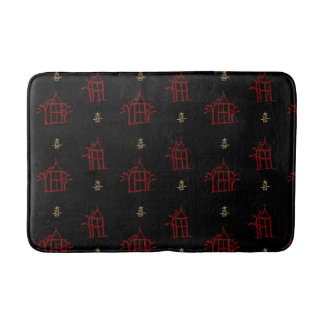Red and Gold Pagodas Chinoiserie Bath Mat