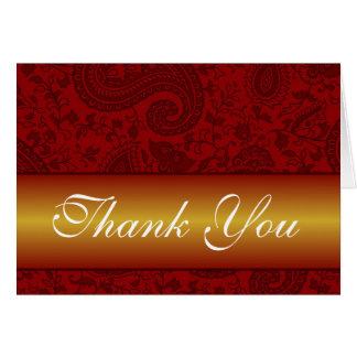 Red and gold paisley thank you card