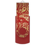 red and gold paisley usb flash drive