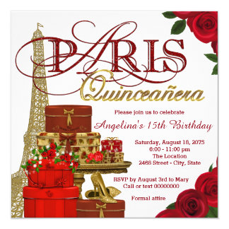 Red and Gold Paris Quinceanera Card