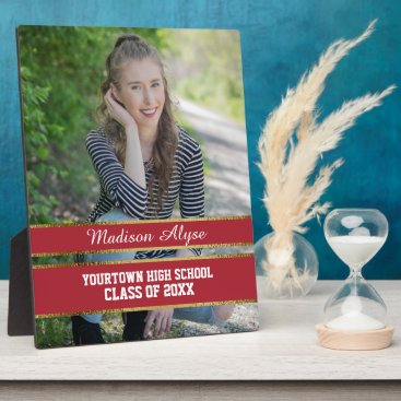 Beach Themed Red and Gold Photo Graduation Plaque