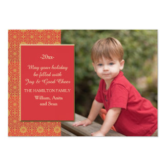Red and Gold Photo Holiday Card