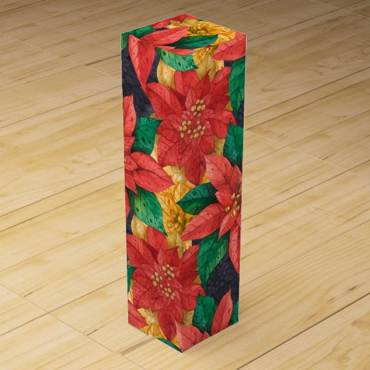 Red and Gold Poinsettias Christmas Wine Box