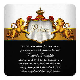 Red and Gold Prince Baby Shower Invitations