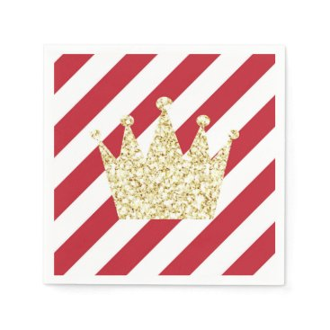 USA Themed Red and Gold Prince Crown Napkins