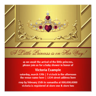Red and Gold Princess Baby Shower Invitation