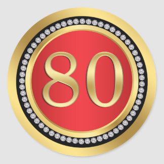 Red and gold, printed diamonds 80th Birthday Party Classic Round Sticker