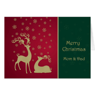 Red and gold reindeer Mom & Dad Christmas Card