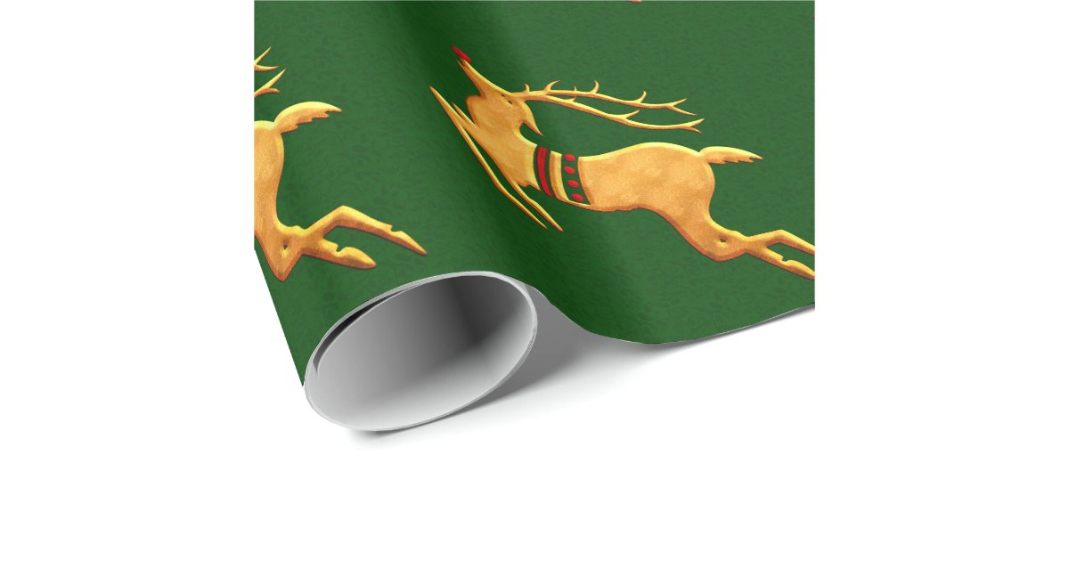 Red And Gold Reindeer On Green Damask Wrapping Paper