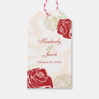 Red and gold roses Wedding Thank you gift tag