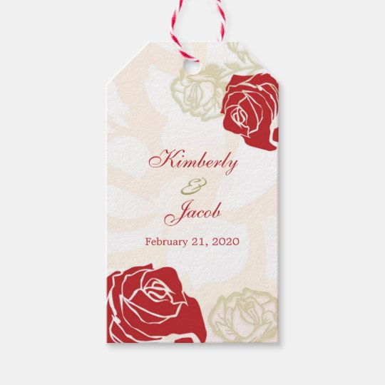 Wedding Thank You Gift Tags: Red And Gold Roses Wedding Thank You Gift Tag