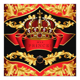 Red and Gold Royal Baby Shower Personalized Invitations