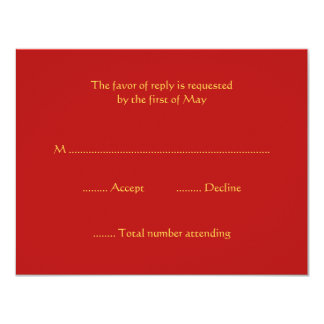 """Red and Gold RSVP Response Cards 4.25"""" X 5.5"""" Invitation Card"""