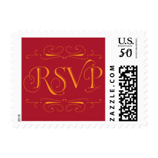 Red and Gold RSVP stamp
