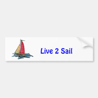 Red and Gold Sailboat Car Bumper Sticker