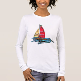 Red and Gold Sailboat Long Sleeve T-Shirt