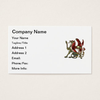 Red and Gold Shiny Metal Griffon Business Card