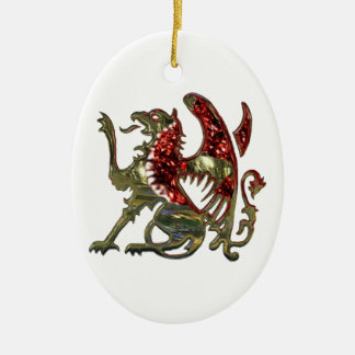 Red and Gold Shiny Metal Griffon Ceramic Ornament