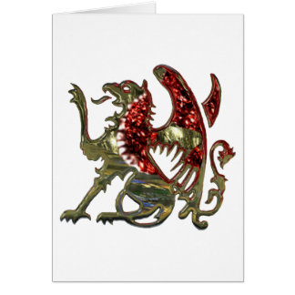 Red and Gold Shiny Metal Griffon Greeting Card