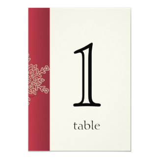 Red and Gold Snowflake Anniversary Table Number Card