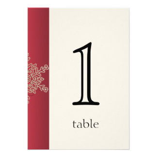 Red and Gold Snowflake Anniversary Table Number Custom Announcement