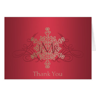 Red and Gold Snowflake Anniversary Thank You Card