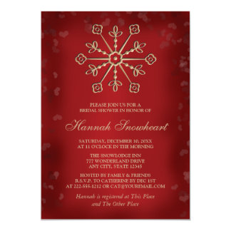 RED AND GOLD SNOWFLAKE BRIDAL SHOWER CARD