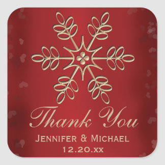 Red and Gold Snowflake Thank You Label Sticker