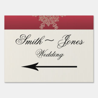 Red and Gold Snowflake Wedding Direction Sign