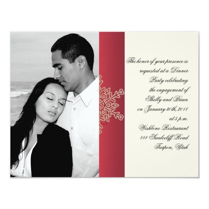 Red and Gold Snowflake Wedding Engagement Card