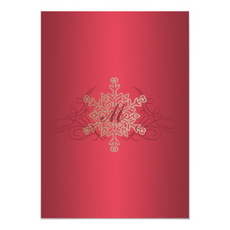 Red and Gold Snowflake Wedding Invitation