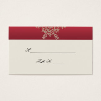 Red and Gold Snowflake Wedding Place Cards