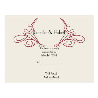 Red and Gold Snowflake Wedding RSVP Postcard