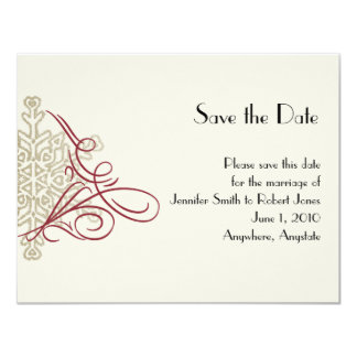 Red and Gold Snowflake Wedding Save the Date Invites