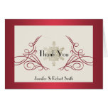 Red and Gold Snowflake Wedding Thank You Greeting Cards