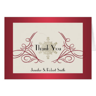 Red and Gold Snowflake Wedding Thank You Card