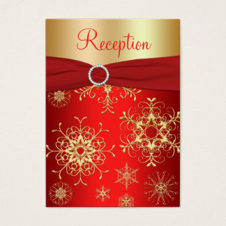 Red and Gold Snowflakes Enclosure Card